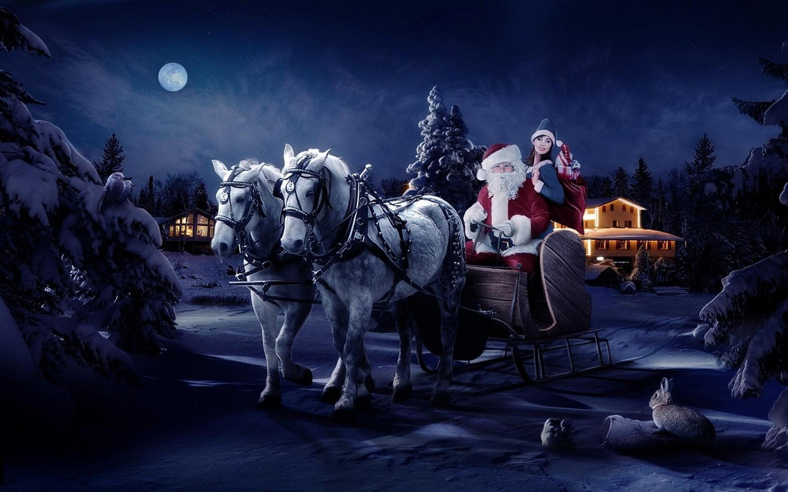 santa_claus_sleigh_girl_horse_tree_night_christmas_bag_gifts_41105_2560x1600